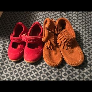 Girls size 5T  Two pairs of suede shoes/booties
